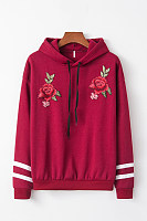 Casual Long Sleeve Rose Hoody