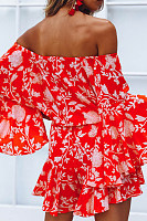 Off Shoulder  Backless  Printed  Bell Sleeve  Long Sleeve  Playsuits