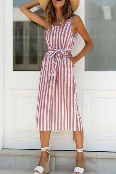 Spaghetti Strap  Belt  Striped  Sleeveless Maxi Dresses