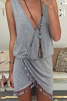 V Neck  Asymmetric Hem Fringe  Plain  Sleeveless Bodycon Dresses