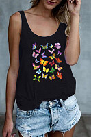 Butterfly Printed Casual Vest