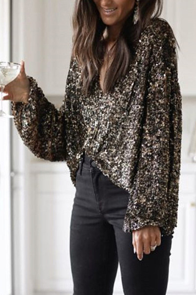 Sexy V-neck solid color long sleeve Blouse