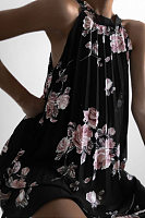 Halter  Ruched  Floral  Sleeveless Casual Dresses