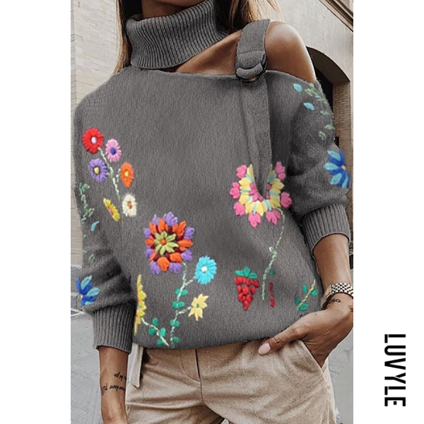 Sexy Shoulder Out Flower High Neck Sweater - from $30.00