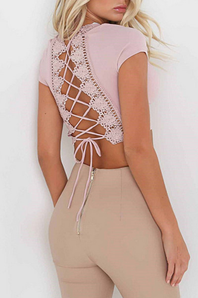 Lace Up  Crochet  Plain T-Shirts