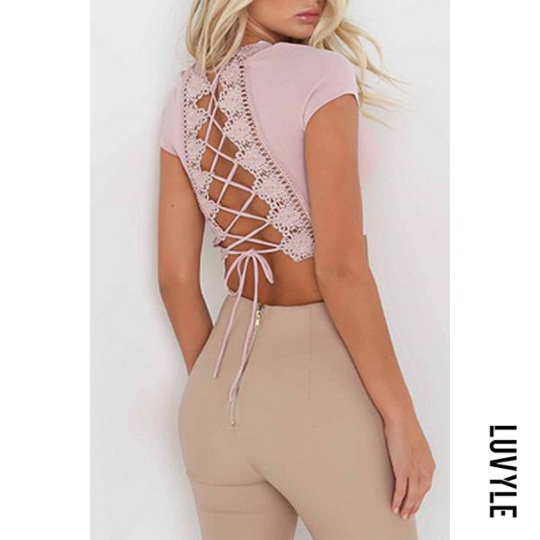 Pink Lace Up Crochet Plain T-Shirts Pink Lace Up Crochet Plain T-Shirts