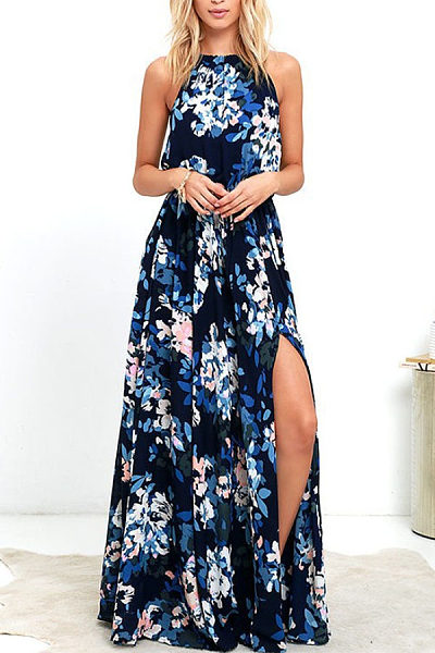 Halter  Floral Printed  Sleeveless Maxi Dresses