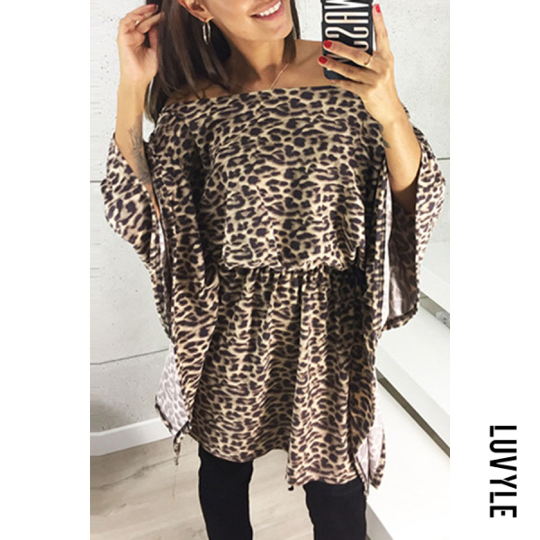 Brown Leopard Print Sexy Off Shoulder Leopard Printed Flare Sleeve Casual Dress Brown Leopard Print Sexy Off Shoulder Leopard Printed Flare Sleeve Casual Dress