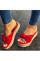 Women's hemp rope thick bottom bow sandals