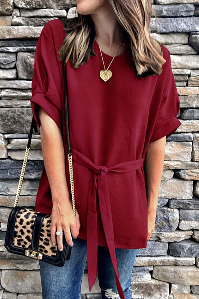 Round Neck  Belt  Plain  Blouses