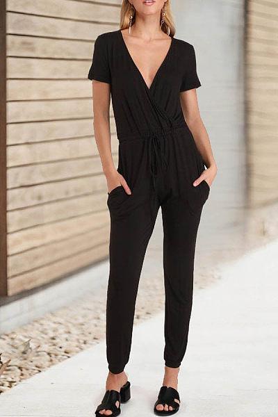 Fashion Casual Deep V Cross   Straps Jumpsuit