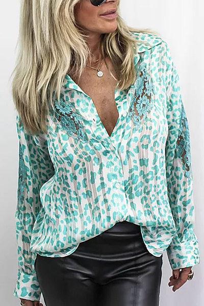 Modern V-neck colorblock print long sleeves Blouse