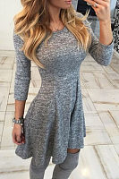 Round Neck  Plain  Three Quarter Sleeve Skater Dresses