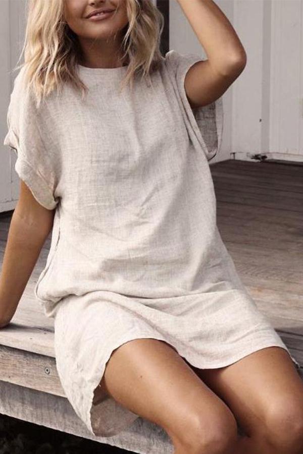 Beach Vibes - Cute Summer Loose Casual Mini Dress in beige