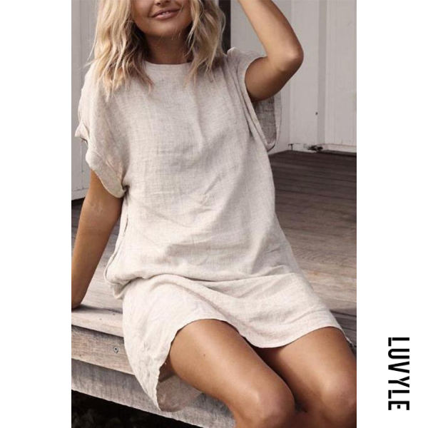 Apricot Round Neck Short Sleeve Plain Casual Dresses Apricot Round Neck Short Sleeve Plain Casual Dresses