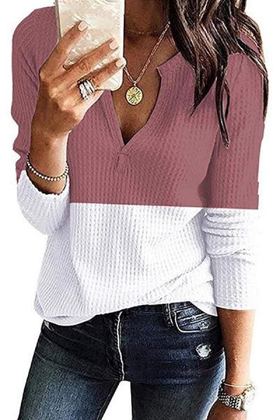 Casual V Neck Long Sleeve Colouring T-Shirt