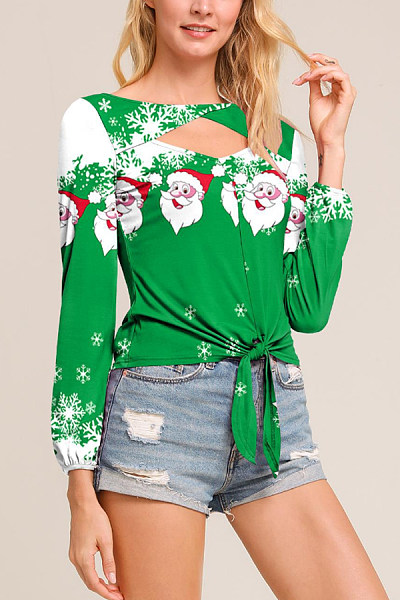 Christmas Printed Hollow Out Casual T-Shirt