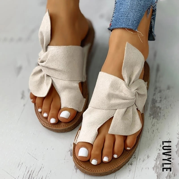 Women's flat non-slip bow sandals