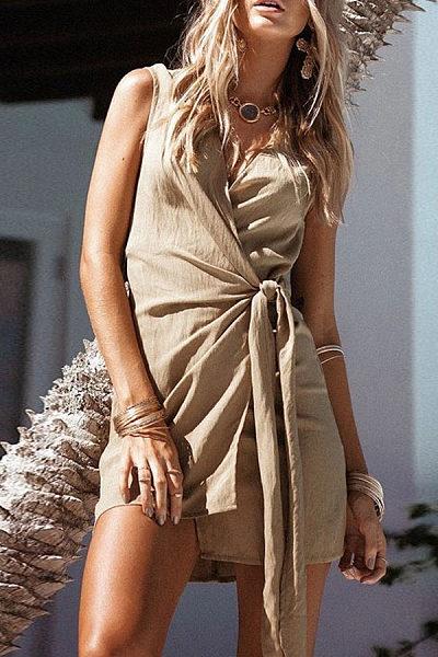 Sexy V-Neck Irregular Bundled   Bow Bag Hip Dress