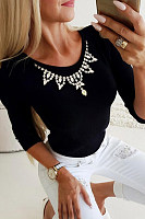 Round Neck Chain Plain T-Shirt