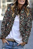 Women's Modern Paillette Long Sleeve Decorative Button Jacket