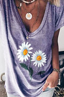 Floral Short Sleeve Casual T-shirt