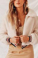 Fold Over Collar  Zipper  Plain Outerwear