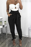 Begged Plain Pants With Belt