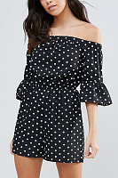 Off Shoulder  Dot  Bell Sleeve  Half Sleeve  Playsuits