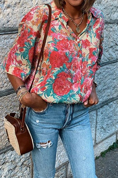 Casual Printed Sleeve Loose Shirt
