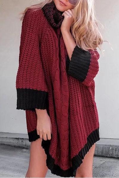 Turtle Neck  Color Block Sweaters