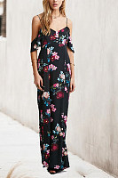 Asymmetric Neck  Print Maxi Dresses