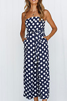 Spaghetti Strap  Backless  Dot  Sleeveless Jumpsuits