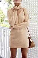 V Neck  Cutout  Plain Sweaters