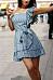 One Shoulder  Striped Skater Dresses