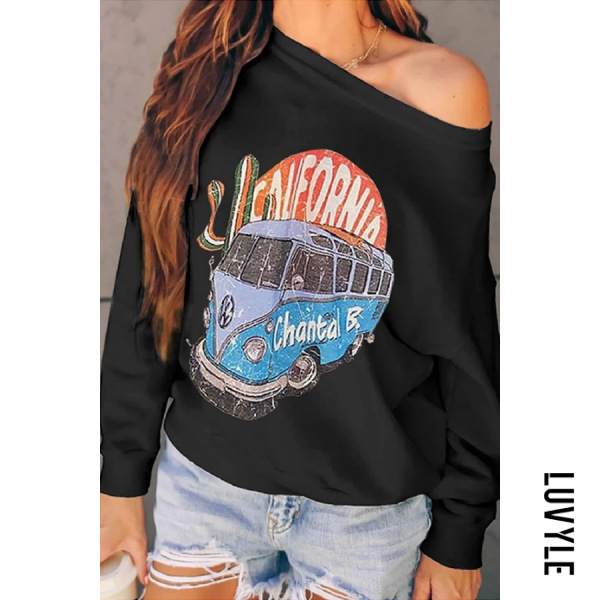 Black Casual Long Sleeve Cartoon Hoodies Black Casual Long Sleeve Cartoon Hoodies