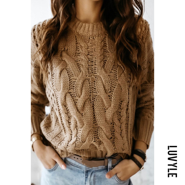 Stylish khaki twisted knit sweater - from $32.00