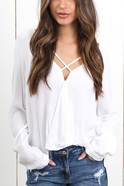 Fashion Sexy V-Neck Long Sleeved Chiffon Medium Long Blouses