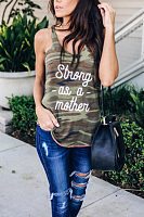 Round Neck  Camouflage Letters Camis