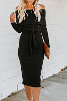 Off Shoulder  Backless  Belt  Plain  Long Sleeve Bodycon Dresses
