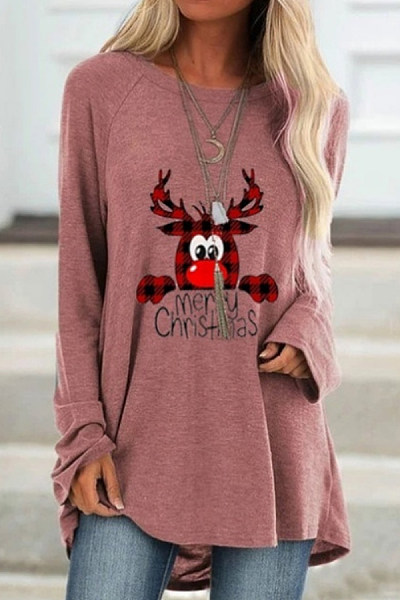 Round Neck Long Sleeve Printed T-Shirt