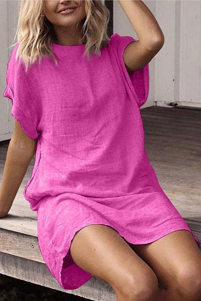 Round Neck Short Sleeve Plain Casual Dresses
