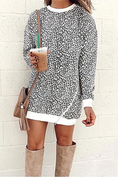 Casual Round Neck Leopard Zipper Dress