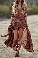 Elegant V-Neck Plain Maxi Dress