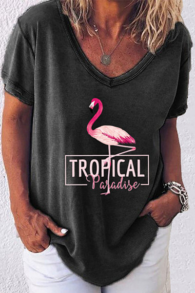 Casual Flamingo Print V-neck Short Sleeve T-shirt