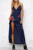 Spaghetti Strap V Neck  High Slit  Embroidery  Sleeveless Maxi Dresses