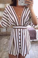 Deep V Neck  Backless  Striped  Half Sleeve Casual Dresses