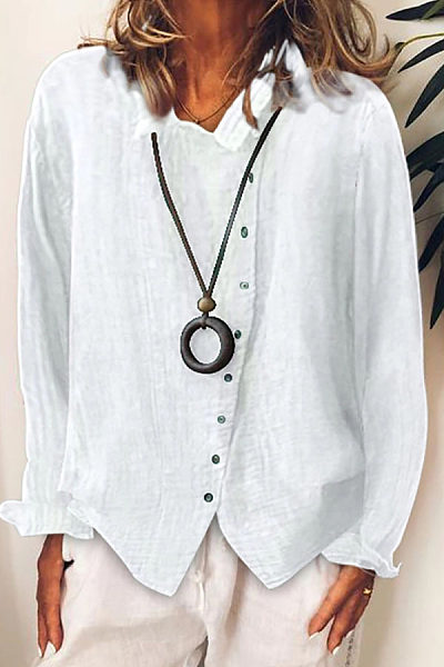 Casual Long Sleeve Irregular Shirt
