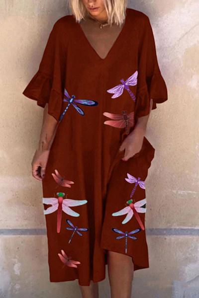 Casual Dragonfly Print Lotus Leaf Sleeve Dress