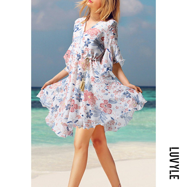 White V Neck Printed Short Sleeve Skater Dresses White V Neck Printed Short Sleeve Skater Dresses